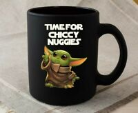 The Green Baby Space Child Mando Mug Chiccy Nuggies Meme Black Ceramic Mug
