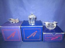 Byzantium Collection Crystal Aeroplane, Cottage & Bird Bath, all boxed