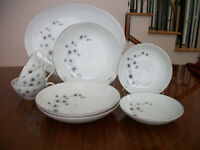 CREATIVE PLATINUM STARBURST OVAL PLATE 2 BOWLS 3 PLATE 3 CUPS FINE CHINA JAPAN