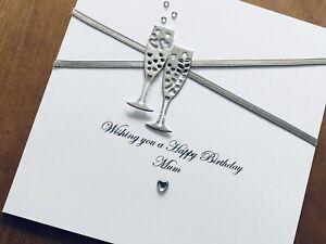 Personalised Handmade Wedding Anniversary Birthday Card 21 30 40 50 60 Silver