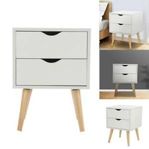Modern Bedside Table with 2 Drawers Nightstand Storage Modern Cabinet Bedroom