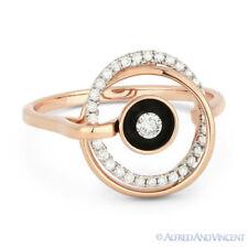 Right-Hand Fashion Ring 14k Rose Gold 0.19ct Round Brilliant Cut Diamond Enamel