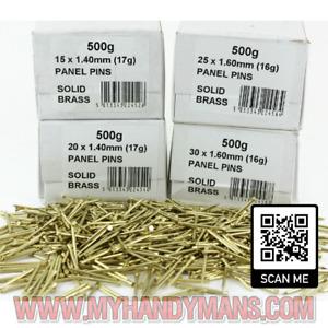 Genuine Solid Brass Panel Pins 15mm 20mm 25mm 30mm & 40mm Will Not RUST Marine