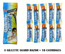 3 GILLETTE GUARD RAZOR WITH 10 GILLETTE GUARD CARTIDGE RAZOR WITH PIVOTING HEAD