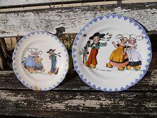 2 assiettes HB & cie Choisy décor enfants humoristique breton Bretagne