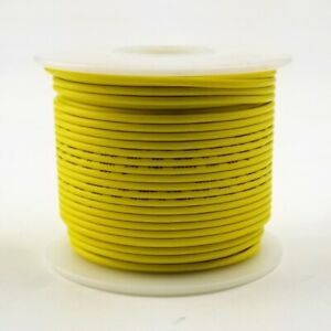 18 AWG Gauge Stranded YELLOW 300 Volt, UL1007 PVC Hook Up Wire 100ft Roll 300V