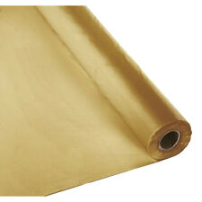 """40""""x100 ft Heavy Duty Banquet Roll Plastic Table Cloth - Metalic Gold"""