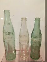 Coca Cola Coke Green Clear 3 Bottles Assorted Size White Letters 10 oz & 16oz