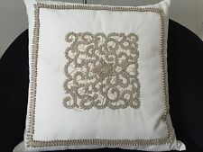 """Beautiful Ankasa leather and pearl embroidered decorative pillow 18"""" square"""