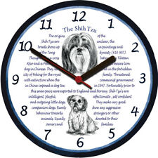 Shih Tzu Large Wall Clock - Dog Breed Origins Animal Facts