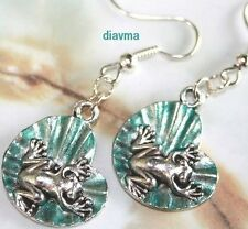tree frog on green lilly pad leaf earrings