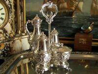 Vintage Silverplate Salt Pepper Shakers Mustard Pot Oil Carafe Condiment Caddy