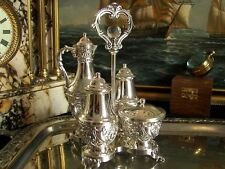 Vintage Silverplate Salt Pepper Shakers Mustard Pot Oil Carafe Condiment Caddy