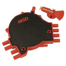 MSD Distributor Cap & Rotor Kit 84811; Points / Socket Black/Red for Chevy LT1