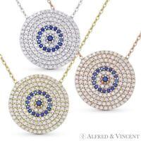 Evil Eye CZ Charm Crystal Pendant Turkish Nazar Greek Sterling Silver Necklace
