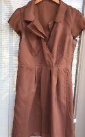 Ann Taylor LOFT Silk Shift Dress Women's 6 Petite Brown Cap Slv Surplice Ruffled