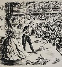Dessin original de Pierre Rousseau pour Barnum, récit de cirque, 1954