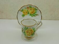 Vintage ROYAL ALBERT Bone China England YELLOW TEA ROSE Demitassi Cup Saucer VgC