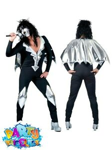 Adult Mens Glam Rock Jumpsuit Costume KISS 70s Alice Cooper Fancy Dress Outfit