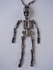 RARE HIGHLY DETAILED PEWTER SKELETON SKULL NECKLACE PENDANT W/CHAIN HALLOWEEN