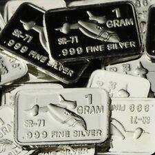 """SR-71 Blackbird"" Design. Lot of 10, 1 gram silver bullion .999 Fine silver bar"