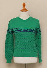Vintage 1970s Womens Gerard Works Green and Blue Wool Whale Sweater