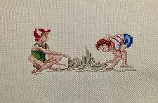 Completed Finished Cross Stitch, Two Boys Playing In Beach