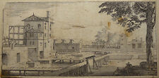Sébastien Le Clerc Beau Paysage animé au moulin à eau 1696