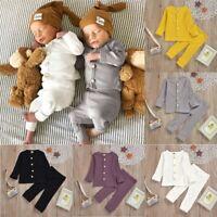 Toddler Baby Boys Girls Long Sleeve Solid Tops+Pants Pajamas Sleepwear Outfits