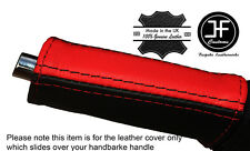 BLACK & RED E Freno Freno a mano manico copertura in pelle si adatta Ford Mustang 15-17