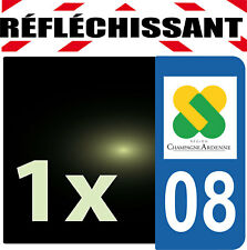 DEPARTEMENT 08 rétro-réfléchissant Plaque Auto 1 sticker autocollant reflectif