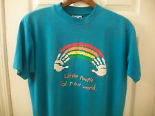 Vintage Rainbow T Shirt L Little People Color Our World Graphic tee Children Han