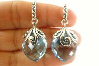 Blue Topaz Ornate 925 Sterling Silver Dangle Drop Earrings