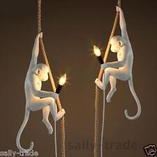 Vintage Pendant Light Industrial Resin Hemp Rope Monkey Ceiling Lamp Chandelier