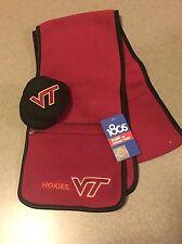 Set NCAA Virginia Tech VT Scarf w/Pocket Ear Wamers