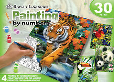 ROYAL LANGNICKEL Paint by Number 24pc Gift Set 4 Designs Tiger Jungle Animals
