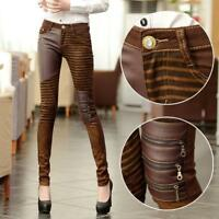 Hot Sale Women Elastic Leather Trousers Leggings Bootcut Pencil Pants Motorcycle