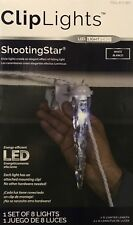 8 Gemmy Shooting Star White LED Icicle ClipLights w/Built-in Mounting Clips NEW