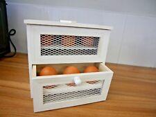 Wooden 2 Tier Chicken Coop 6x Egg Holder Cupboard Cabinet Kitchen Storage Rack