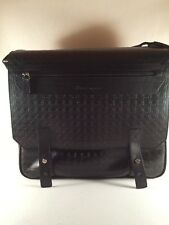 SALVATORE FERRAGAMO Gancini-Embossed Black Leather Messenger Bag NIB