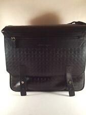 SALVATORE FERRAGAMO Gancini-Embossed Black Leather Messenger Bag NIB