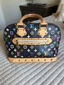 Louis Vuitton Authentic Black Multicolor Monogram Canvas Alma Handbag