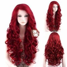 High Quality Lace Front Wig New Fashion Charm Women's Long Dark Red Curly Wigs