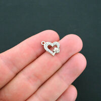 2 Rhinestone Heart Charms Antique Silver Tone With Rose - SC744