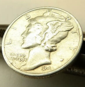 1941 MERCURY DIME SILVER COIN/BUTTON LIGHTLY CIRCULATED + FREE SHIPPING!