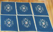 """Set of 6 Vintage Wool Needlepoint 20"""" Floral Chair Seat Covers- Blue, Pink Roses"""