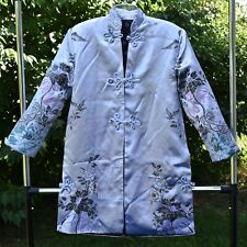 FAB Silver Brocade GUY LAROCHE Paris MANDARIN Floral Butterfly JACKET Bird CATS