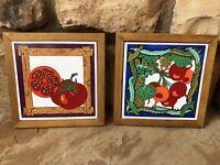 Vintage Mid Century Art Nouveau Kitchen Decor Veggies Trivets Wall Hanging Tiles