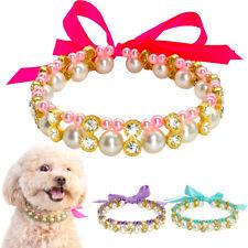 Luxury Bling Rhinestone Dog Necklace Diamante Pearl Collar Pet Puppy Accessory