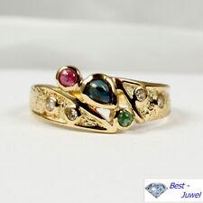 """""""Finnischer Stil"""" Ring in 585 Gold mit Rubin, Safir, Smargd und Diamant"""